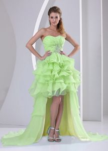 Yellow Green Sweetheart High-low Vintage Homecoming Dresses in Moscow