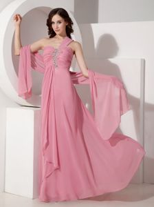 Pink One Shoulder Long Chiffon Junior Homecoming Dresses in Honolulu