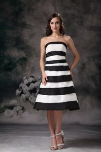 Simple Black and White Knee-length Satin Homecoming Dress in Novato