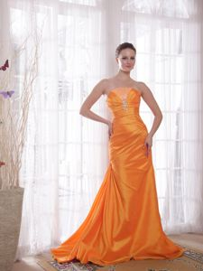 Orange Lace-up Brush Train Sheath Evening Homecoming Dress in Addison