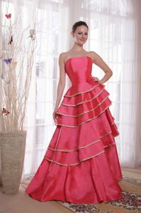 Coral Red Strapless Homecoming Dresses for Prom with Ruffles in Chandler