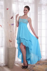 Spain High-low Chiffon Beaded Party Dress for Homecoming with Straps