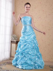 Charming Baby Blue Column Organza Homecoming Dresses with Beading