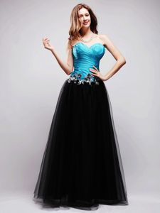 Black and Blue A-line Sweetheart Long Homecoming Dresses in Spain