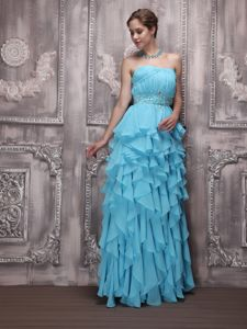 Aqua Blue Homecoming Dresses with Beading and Ruffles in Chicago