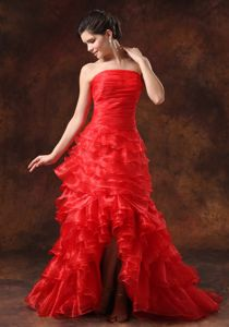 Strapless Red Ruched High-low Inexpensive Homecoming Dresses in Sweden