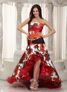 Colorful Strapless High-low Organza Homecoming Princess Dresses in Spain