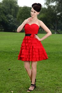 Red Ruched A-line Sweetheart Evening Homecoming Dress in Freehold
