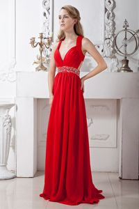 Red V-neck Chiffon Homecoming Dresses for Prom with Criss Cross Back