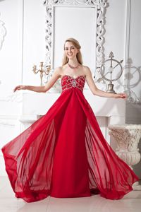 Sweden Wine Red Beaded Court Train Chiffon Homecoming Dresses for Juniors