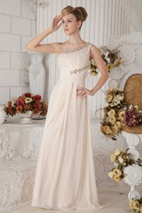Champagne One Shoulder Beaded and Ruched Sparkly Homecoming Dresses