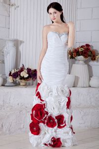 White Mermaid Beaded Vintage Homecoming Dresses with Flowers in Addison