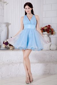 Sky Blue Princess V-neck Short Organza Homecoming Court Dress in Novato