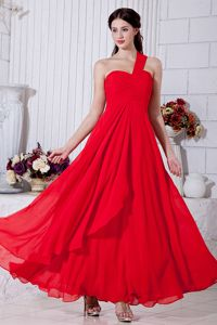 Red Ruched Ankle-length Chiffon Homecoming Princess Dress in Spain