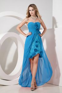 Teal Sweetheart High-low Prom Homecoming with Unique Embroidery