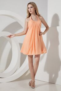 Orange Princess Halter Mini Homecoming Dresses Popular in Vertou