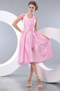 Exquisite Pink Halter Pretty Dress for Homecoming Made in Blagnac