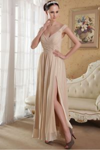 Side Slit Ankle-length Graceful Homecoming Dress in Champagne