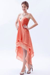 Orange V-neck High-low Best Homecoming Dresses for Teenage