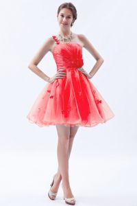 Princess Single Shoulder Appliqued Homecoming Mini Dresses on Sale