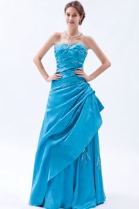 Teal Strapless Special Ruched Homecoming Long Dress in Rodez