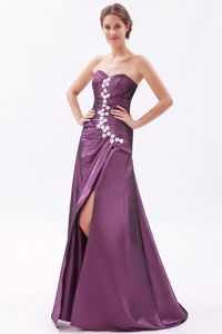 Princess High Slit Sparkly Homecoming Long Dresses in Taffeta Fabric