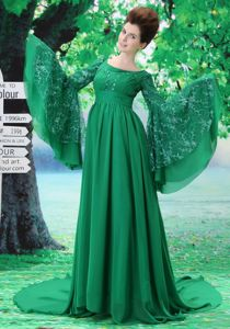 Scoop Chapel Train Homecoming Dress with Special Long Sleeves