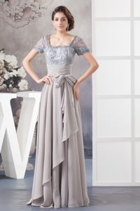 Gray Lace Short Sleeves Best Homecoming Long Dress for Juniors