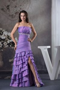 Mermaid Purple High Slit Beaded Homecoming Formal Dress with Ruffles