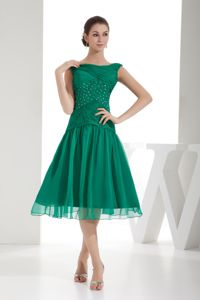 Green A-line Bateau Juniors Dress Best for Homecoming Popular in 2013