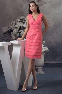 Simple V-neck Watermelon Homecoming Dresses Popular in Haguenau