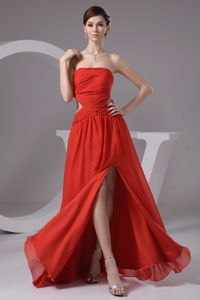 Strapless High Slit Homecoming Dress with Cut Outs Popular in Rouen