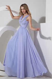 V-neck Floor-length Chiffon Beaded Pretty Vintage Homecoming Dress in Lilac