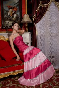 Mermaid Hot Pink Taffeta Homecoming Dresses with Sequins and Brush Train