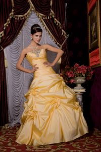 Taffeta Beading Floor-length Ruched Homecoming Dance dress with Pick Ups