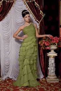 One Shoulder Brush Train Chiffon Beaded Homecoming Dress in Olive Green