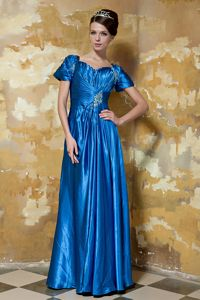 Short Sleeves Floor-length Beaded Cocktail Homecoming Dress in Royal Blue