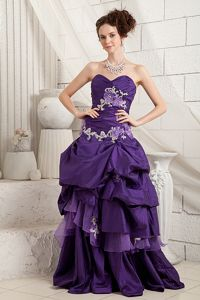 Sweetheart Appliqued Brush Train Purple Homecoming Dance dress with Ruffles