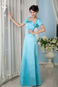 Strapless Floor-length Satin Homecoming Queen Dress in Aqua Blue in Wyoming
