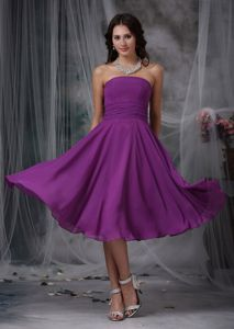 Strapless Tea-length Chiffon Ruched Purple Homecoming Dress in Spartanburg