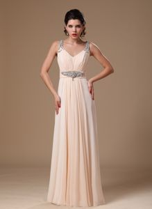 V-neck Champagne Ruched Chiffon Beaded Inexpensive Homecoming Dresses