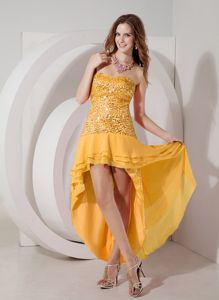 Sequined Orange High-low Strapless Chiffon Celebrity Homecoming Dresses