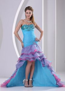 Muti-color High-low Ruching Mermaid Beaded Celebrity Homecoming Dress