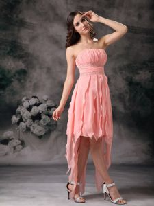 Peach Knee-length Short Strapless Chiffon Pretty Homecoming Dress For Juniors