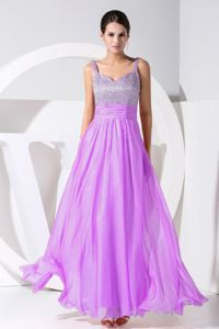 Straps Ankle-length Beaded Celebrity Homecoming Dress in Lavender in Vermont
