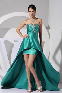 Sweetheart Neckline High-low Beaded Turquoise Homecoming Princess Dresses
