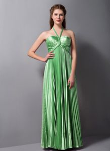 Halter Pleated Floor-length Cocktail Homecoming Dress in Spring Green in Franklin