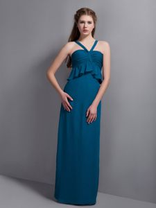 V-neck Teal Chiffon Floor-length Ruched Sparkly Homecoming Dress in Beaumont