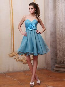 Sweetheart Beaded Handmade Flower Cocktail Homecoming Dresses in Baby Blue