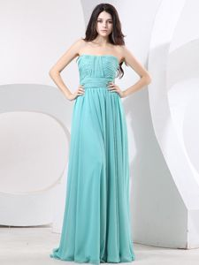 Strapless Ruching Simple Long Vintage Homecoming Dresses in Green in Garland